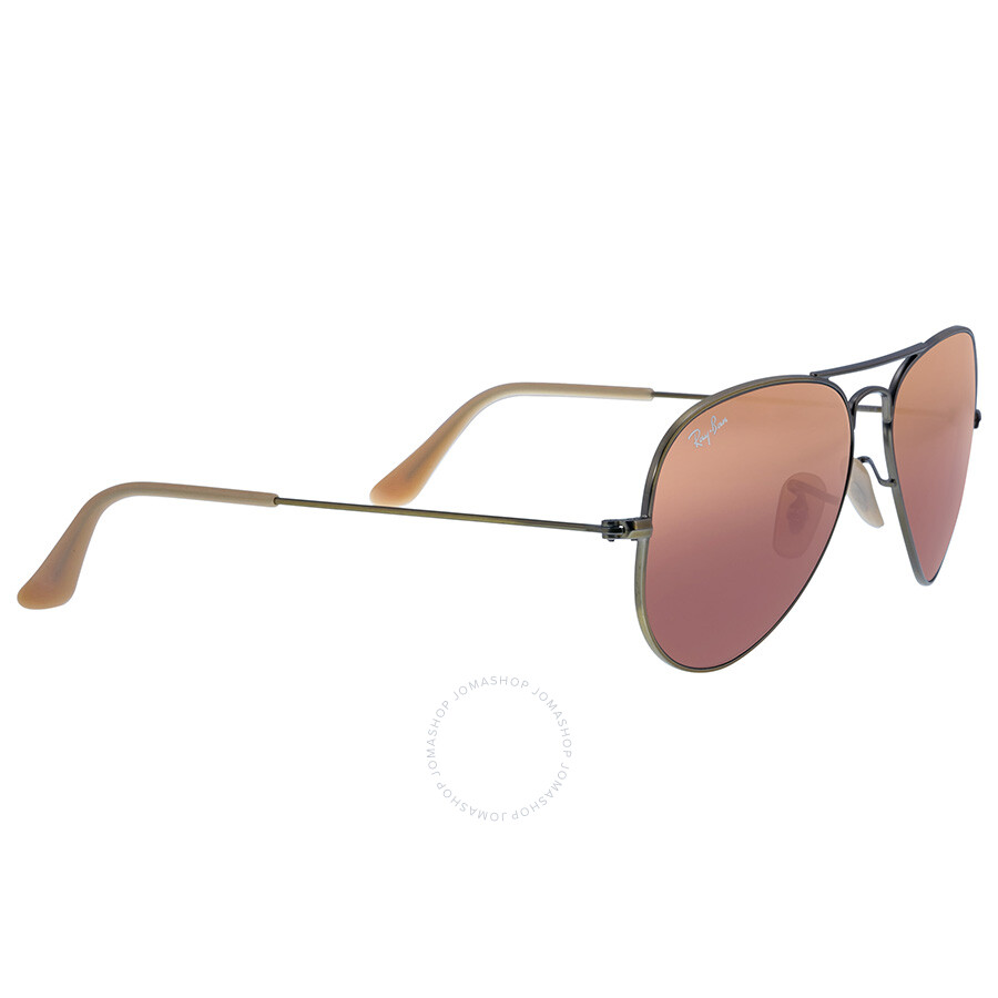 319015a4b1 Ray Ban Aviator Bronze Metal Bronze Red Mirror Non-Polarized Crystal Lenses 55mm  Sunglasses .