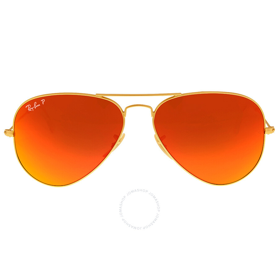 Ray Ban Aviator Flash Polarized Orange Flash Sunglasses RB3025 112/4D