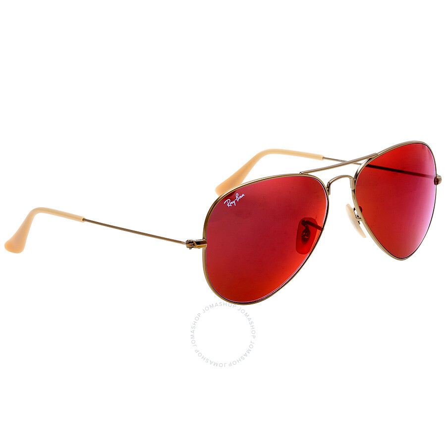Ray ban aviator flash red mirror 58 mm sunglasses rb3025 for Ray ban aviator verre miroir