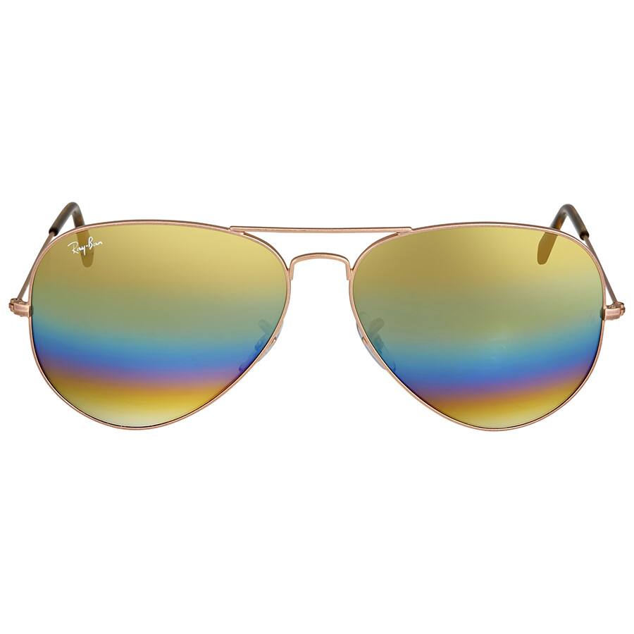 bc23b25b30 Ray Ban Aviator Gold Rainbow Flash Men s Sunglasses RB3025 9020C4 62 ...