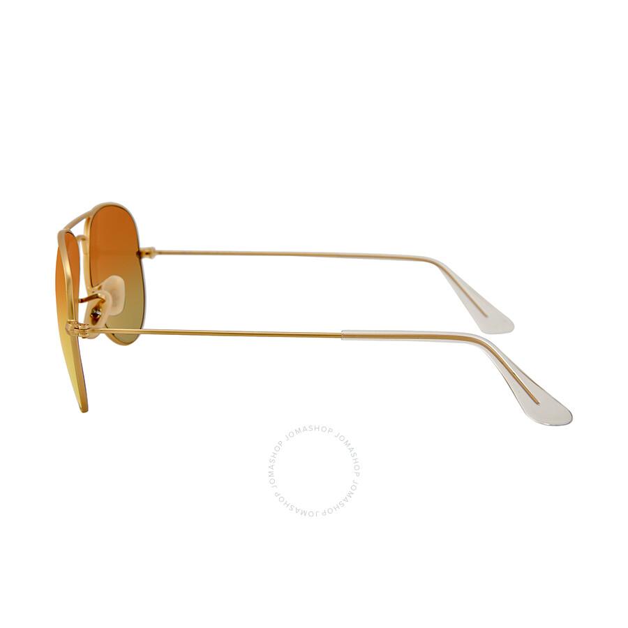 5b947d9d8b6 ... Ray Ban Aviator Matte Gold Metal Brown Mirror Orange Non-Polarized  Lenses 55mm Sunglasses RB3025 ...