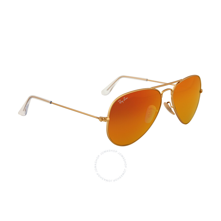 ray ban aviator 55mm polarized  Ray Ban Aviator Matte Gold Metal Brown Mirror Orange Non-Polarized ...