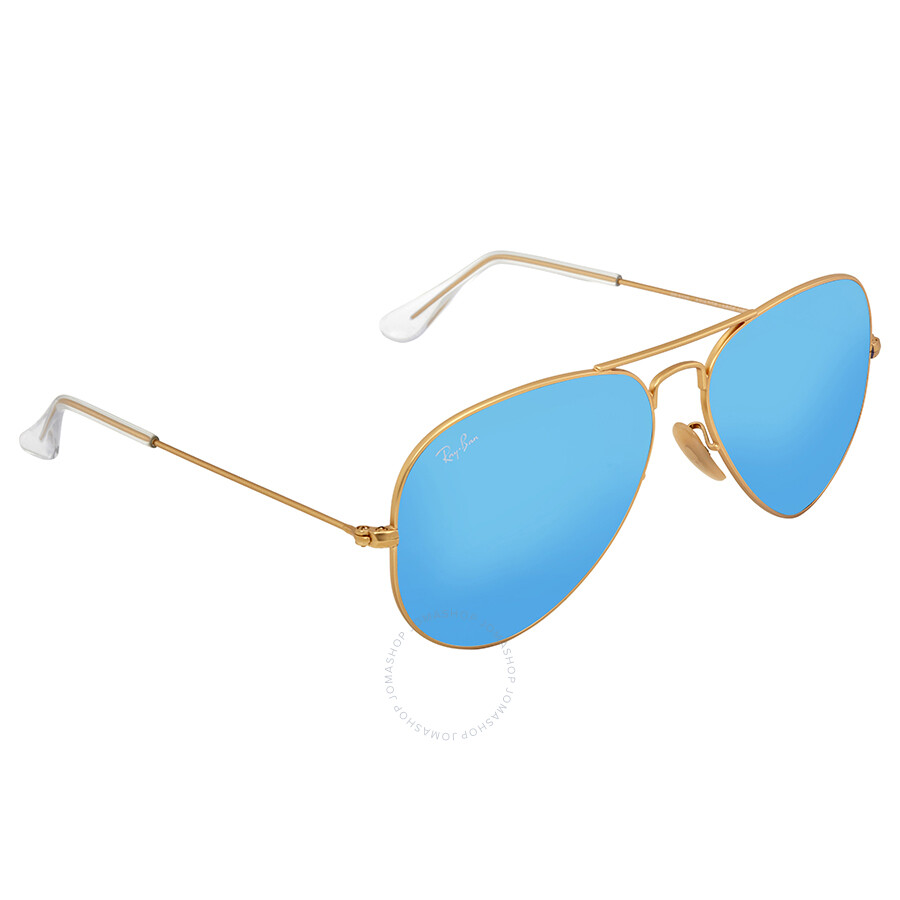 96ccbf2c42 Ray-Ban Aviator Metal Matte Gold Frame Crystal Blue Mirrored Lenses Large  Sunglasses RB3025- ...