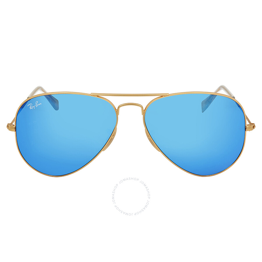 Ray-Ban Aviator Metal Matte Gold Frame Crystal Blue Mirrored Lenses ...