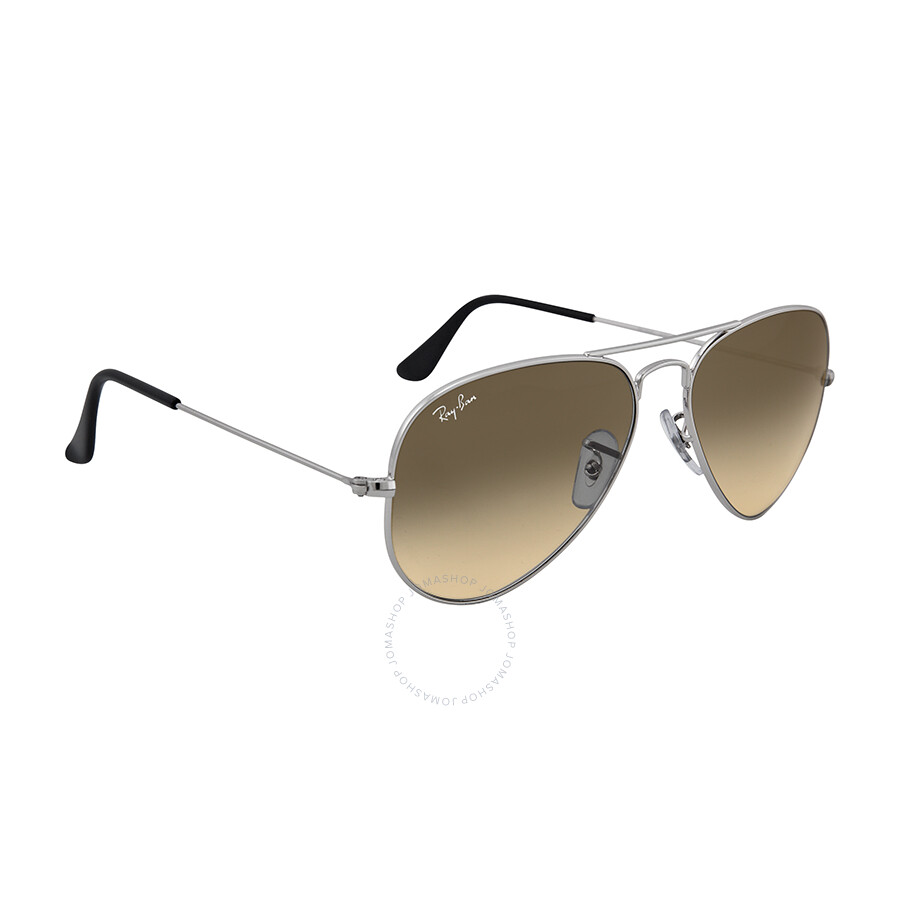Ray ban aviator metal silver grey 55mm large sunglasses for Ray ban aviator miroir homme