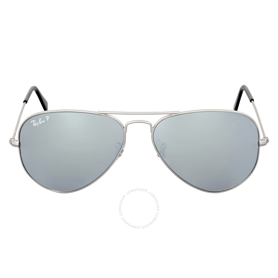 cec6060953 Ray Ban Aviator Mirror Polarized Silver Flash Sunglasses RB3025 019 W3 58  ...