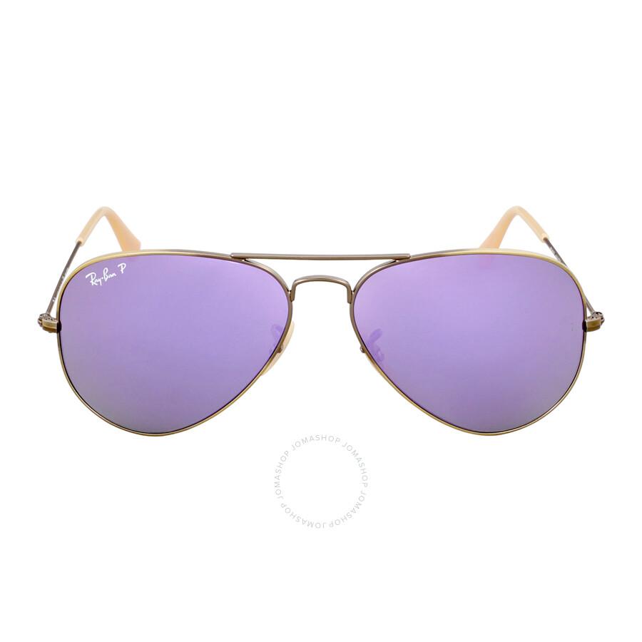 Ray Ban Aviator Polarized Lilac Flash Sunglasses Rb3025 167 1r 58