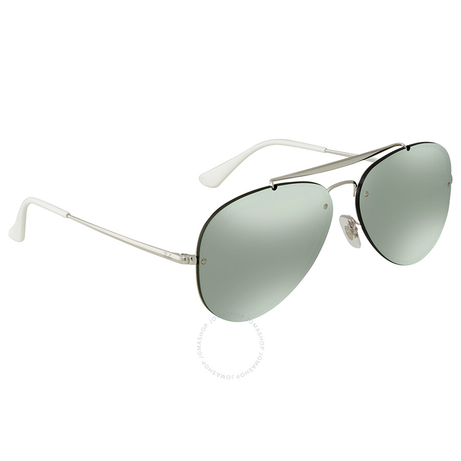 13486737c67 Ray Ban Blaze Aviator Dark Green Silver Mirror Aviator 58 mmSunglasses  RB3584N 905130 58 ...