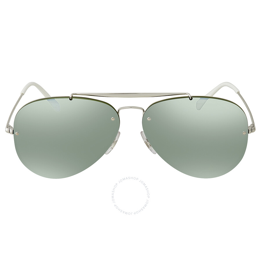 93d6cb0297 ... Ray Ban Blaze Aviator Dark Green Silver Mirror Aviator 61mm Sunglasses  RB3584N 905130 61 ...