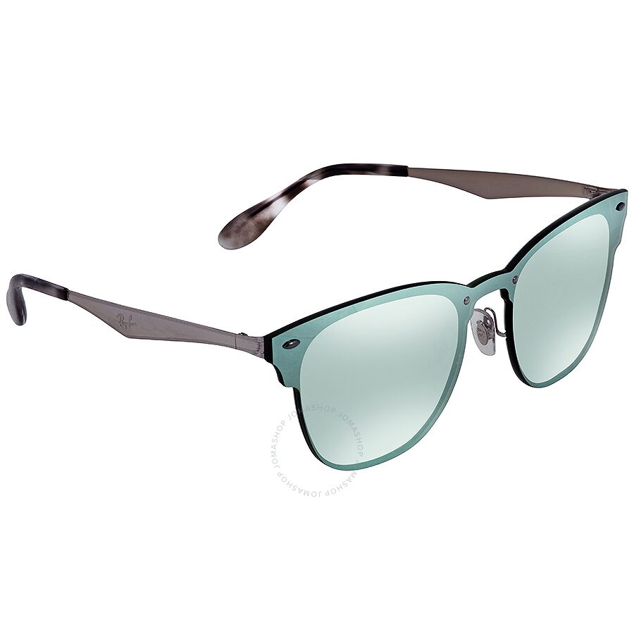 e155fb8cc6596 Ray Ban Blaze Clubmaster Dark Green Silver Mirror Square 41mm Sunglasses  RB3576N 042 30 ...
