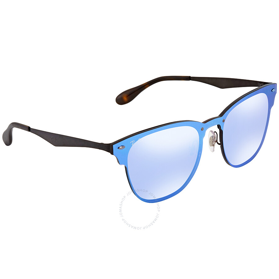 32bb63ac72e Ray Ban Blaze Clubmaster Violet Blue Mirror Square Sunglasses RB3576N 153 7V  47 ...