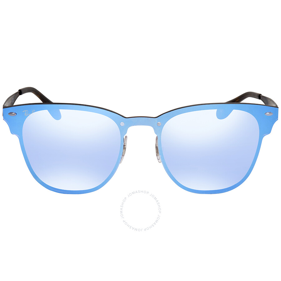1277cbfc7a ... Ray Ban Blaze Clubmaster Violet Blue Mirror Square Sunglasses RB3576N  153 7V 47 ...