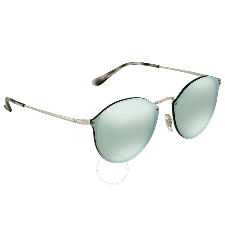 ed7c14c458 Ray Ban Blaze Dark Green Silver Mirror Round Sunglasses RB3574N 003 30 59  ...