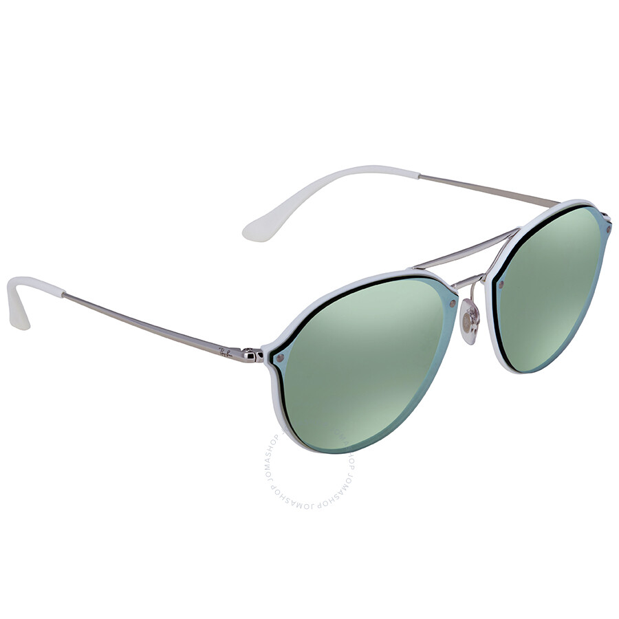 92fdc5e84c Ray Ban Blaze Double Bridge Dark Green Silver Mirror Round Men s Sunglasses  RB4292N 671  ...