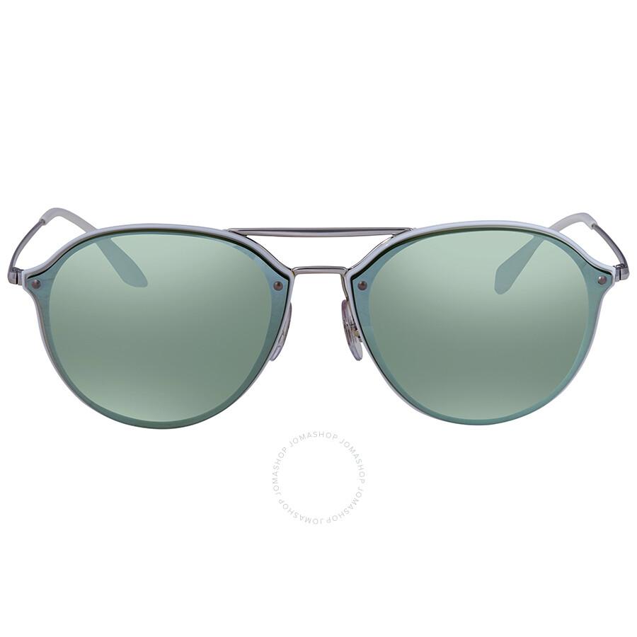 6e994721f6 ... Ray Ban Blaze Double Bridge Dark Green Silver Mirror Round Men s  Sunglasses RB4292N 671  ...