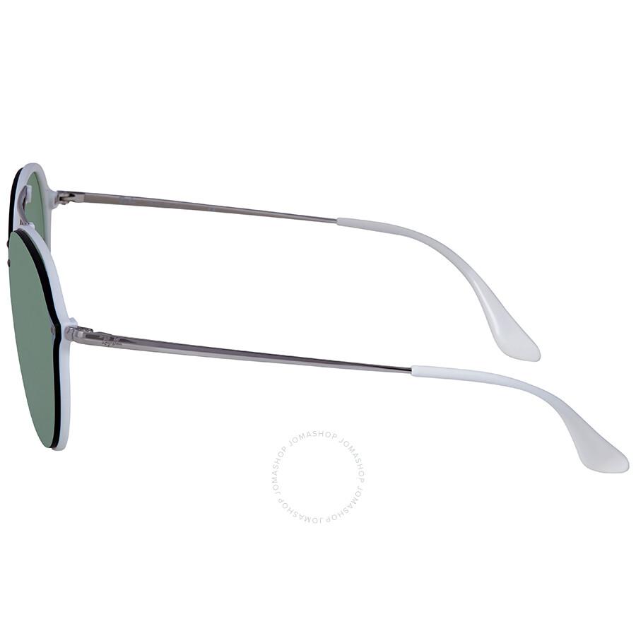 479fff2051197 ... Ray Ban Blaze Double Bridge Dark Green Silver Mirror Round Men s  Sunglasses RB4292N 671