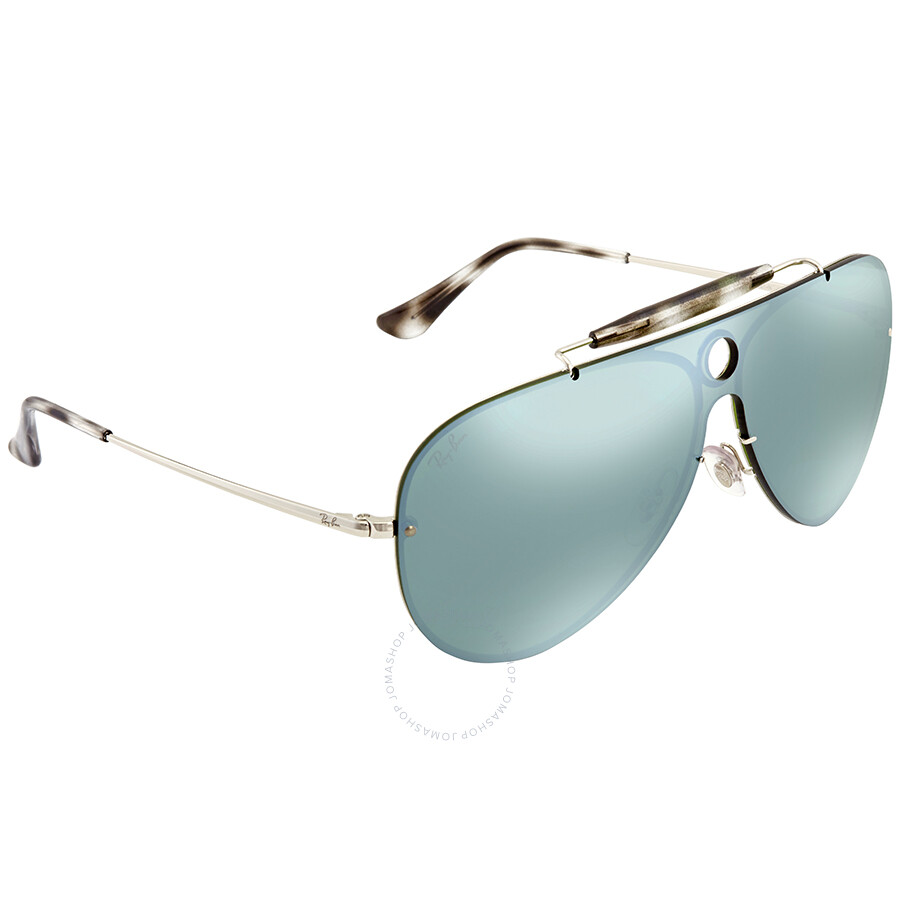 217806519e Ray Ban Blaze Shooter Dark Green Silver Mirror Aviator Sunglasses RB3581N  003 30 32 ...