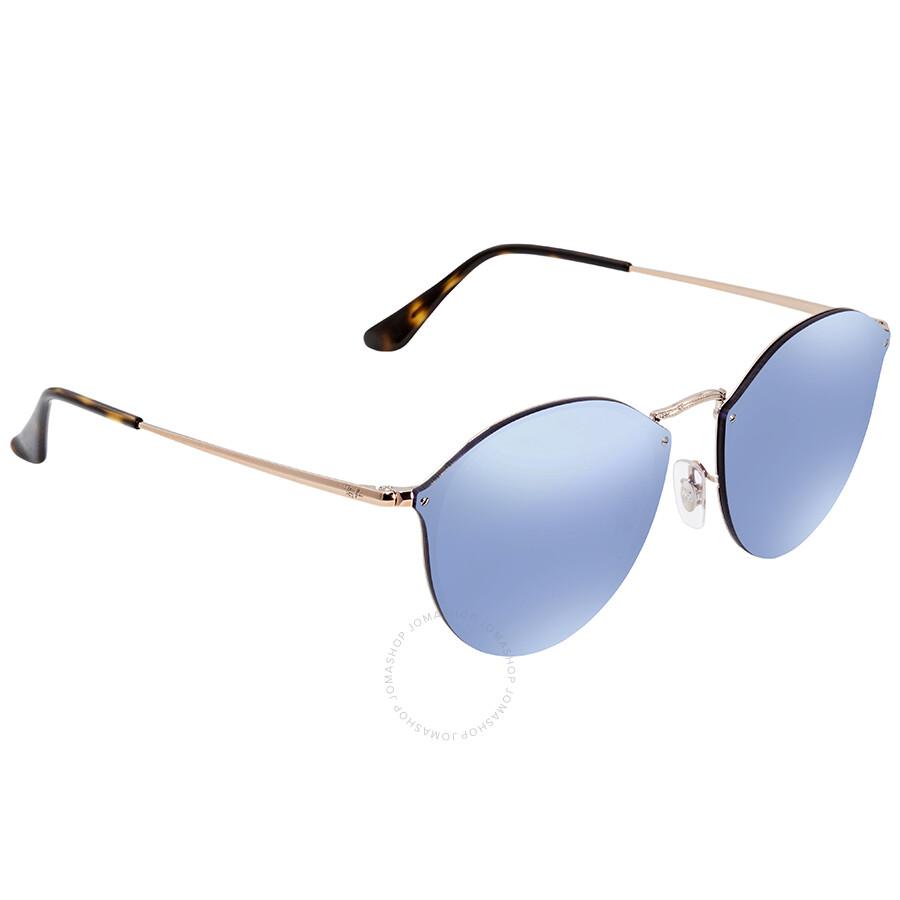 28b6f0ec0a9 Ray Ban Blaze Violet Mirror Round Sunglasses RB3574N 90351U 59 - Ray ...