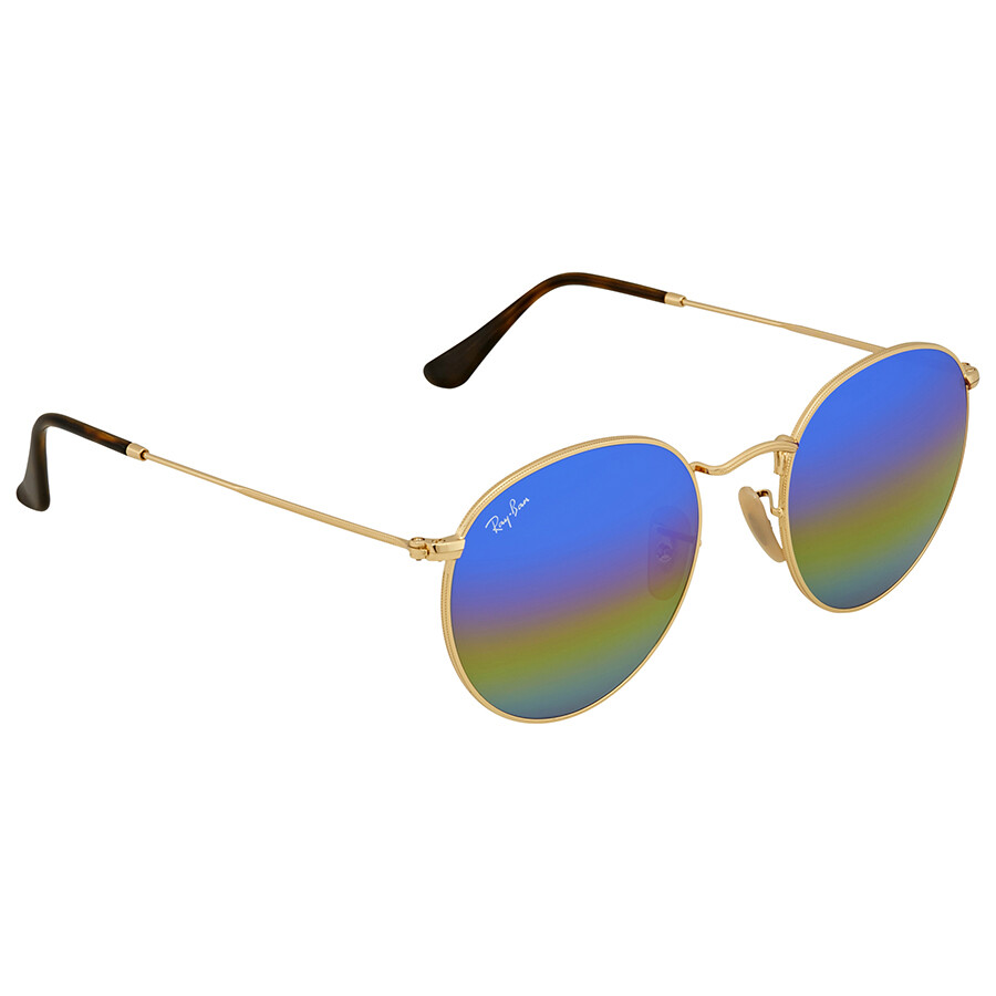 Ray Ban Blue Rainbow Flash Sunglasses RB3447 001 C2 53 - Aviator ... 9ce2ecac3b7a