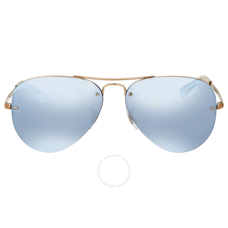 Ray Ban Blue Silver Mirror Aviator Sunglasses Item No. RB3449 90351U 59 64a1e26326