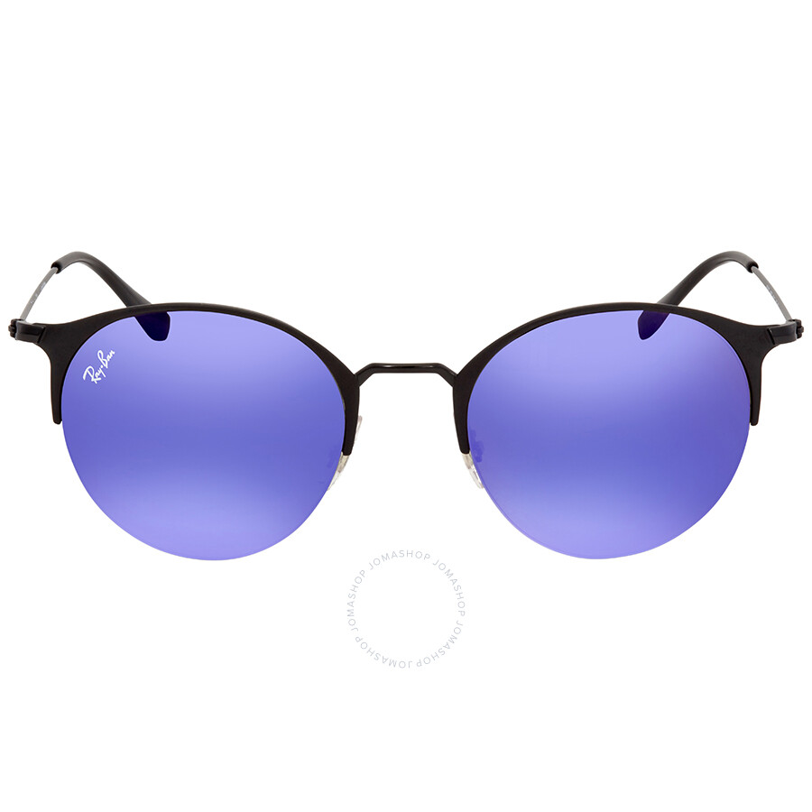 5ea7e35d7a ... Ray Ban Blue Violet Gradient Mirror Round Sunglasses RB3578 186 B1 50  ...