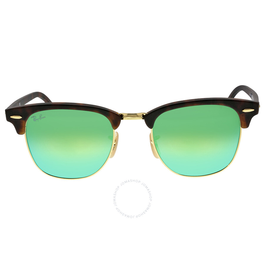 737b84edbd35f Ray Ban Classic Clubmaster Green Flash Lenses Tortoise-shell Plastic Frame  Men s Sunglasses RB3016-51-114519 Item No. RB3016 1145 19 51-21
