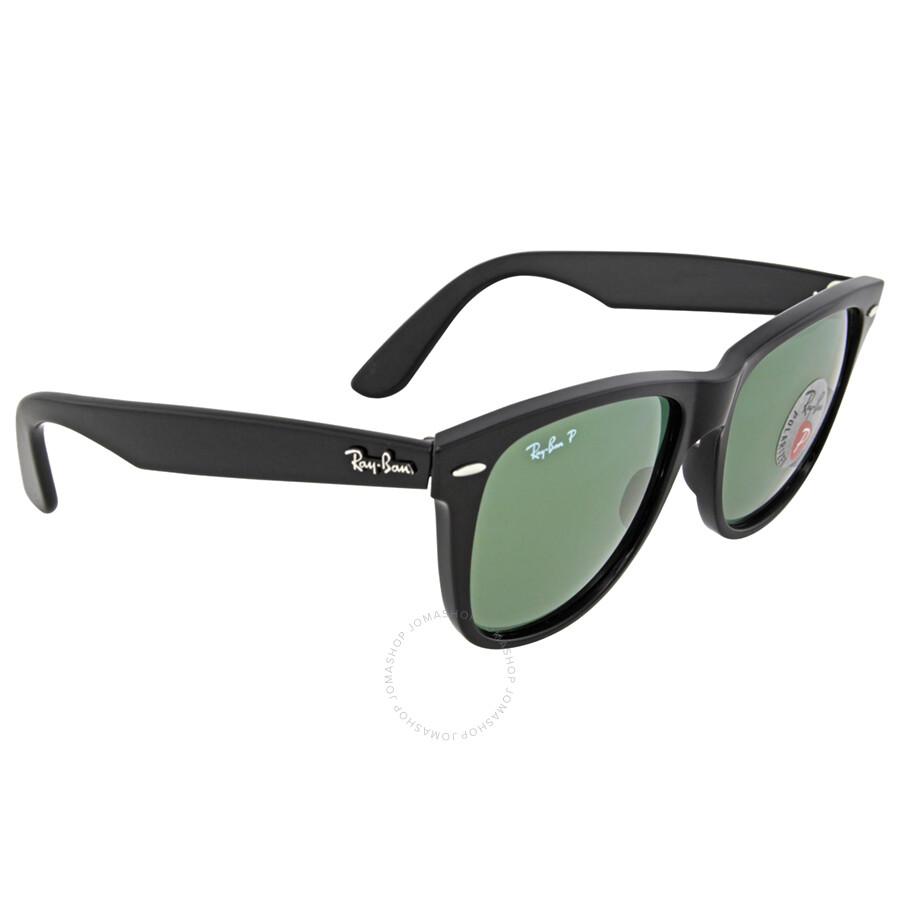 classic wayfarer  Ray-Ban Classic Wayfarer Black Frame Polarized Green Lens 2140 901 ...