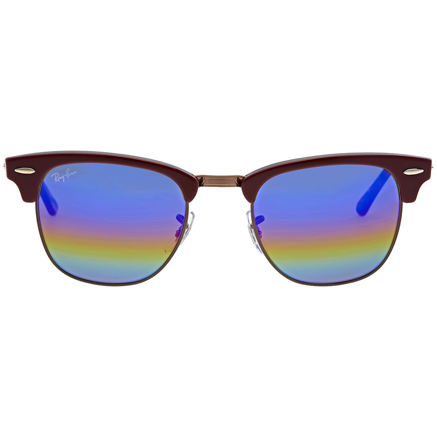 8d5c510f0af66 Ray Ban Clubmaster Blue Rainbow Flash Men s Sunglasses RB3016 1222C2 49 ...