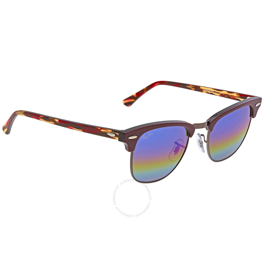 11fef2d56b ... Ray Ban Clubmaster Blue Rainbow Flash Men's Sunglasses RB3016 1222C2 49  ...