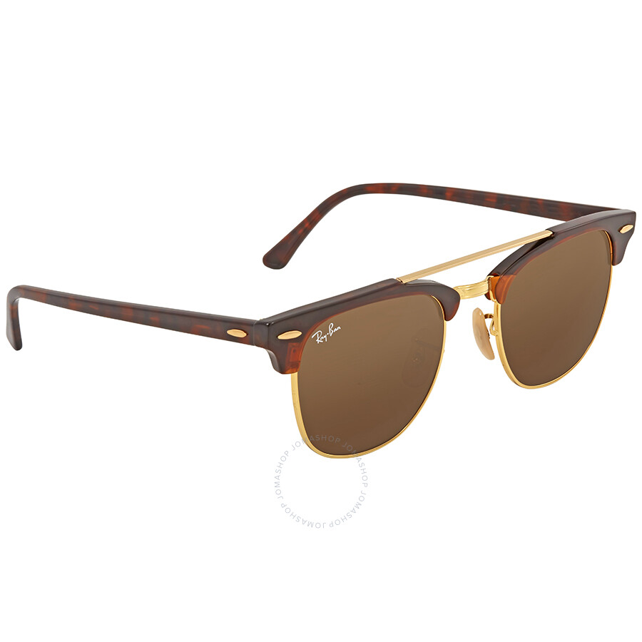 4967d2e2776 ... Ray Ban Clubmaster Doublebridge Brown Square Sunglasses RB3816 990 33  51 ...