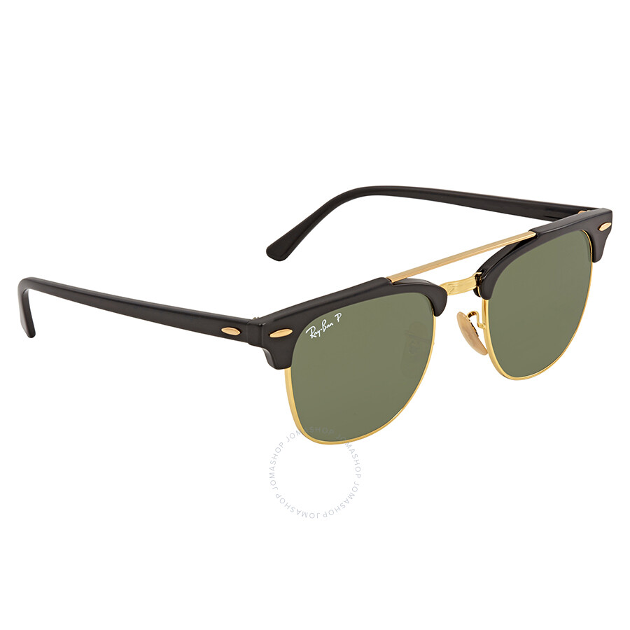 0a686e5ef ... Ray Ban Clubmaster Doublebridge Green Square Sunglasses RB3816 901/58  51 ...