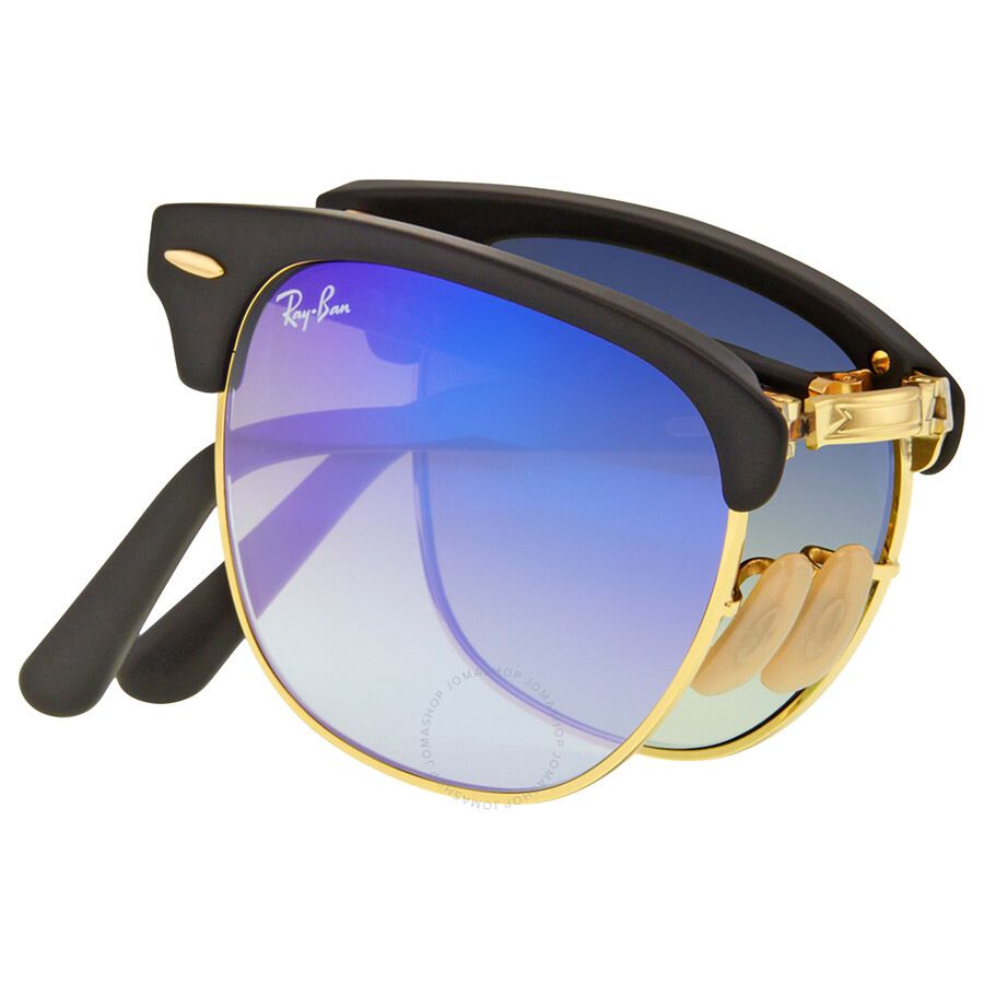 ray ban clubmaster blue flash  Ray Ban Clubmaster Folding Blue Gradient Flash Sunglasses RB2176 ...