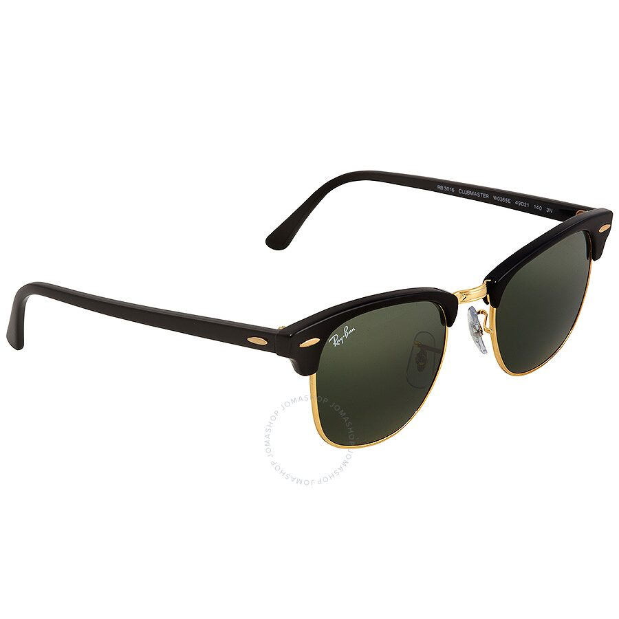 ed3b0d9a9a6 Ray Ban Clubmaster Green Classic G-15 Square Sunglasses RB3016 W0365E 49 ...