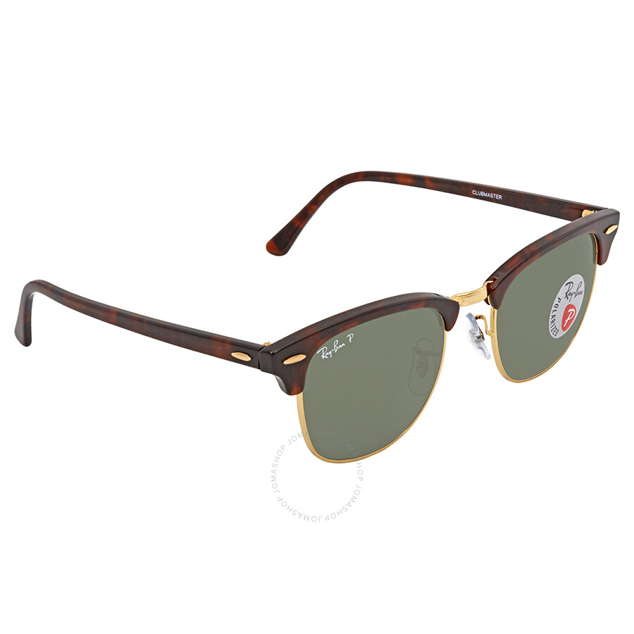 ad5ce87c056030 Ray Ban Clubmaster Green G-15 Polarized Square Sunglasses RB3016 990 58 51  ...