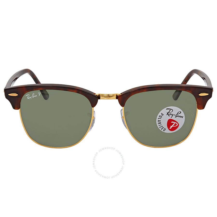 c805e7343 ... Ray Ban Clubmaster Green G-15 Polarized Square Sunglasses RB3016 990/58  51 ...