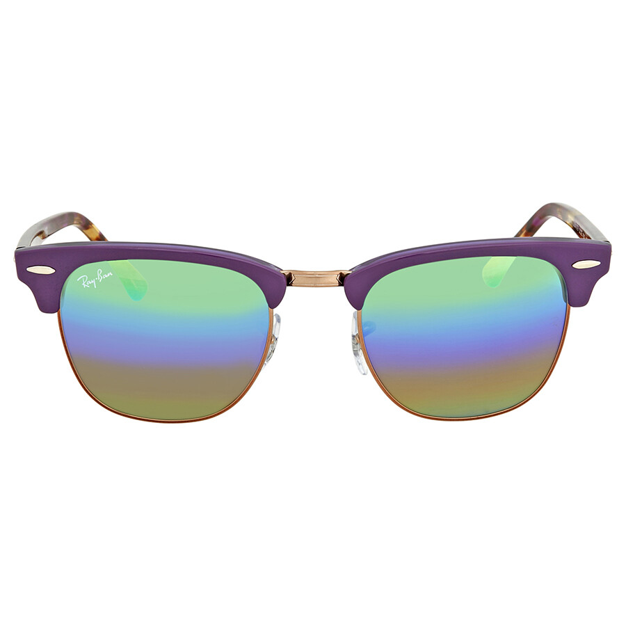 d6ff451a0a ... Ray Ban Clubmaster Green Rainbow Flash Square Sunglasses RB3016 221C3E  49 ...