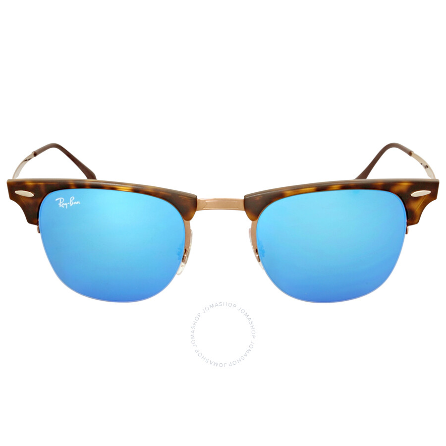 Ray Ban Clubmaster Light Ray Blue Mirror Sunglasses RB8056 175/55