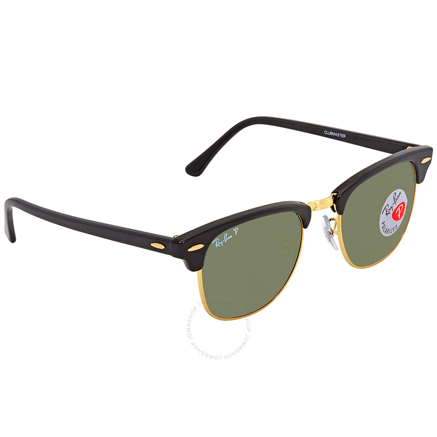 d60ae500a30 Ray Ban Clubmaster Polarized Green Classic G-15 Square Sunglasses RB3016  90158E 49 ...
