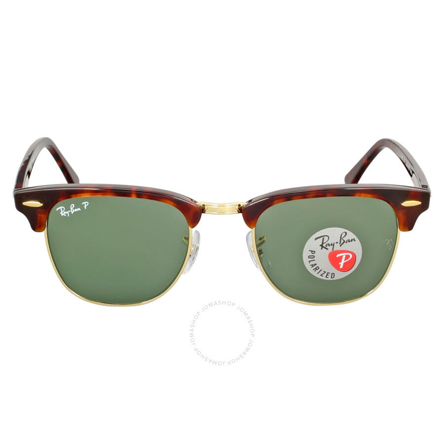 4731f22094 Ray Ban Clubmaster Polarized Green Classic G-15 Sunglasses RB3016 990 58 49  ...
