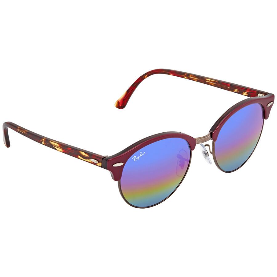 911792ca7e Ray Ban Clubround Blue Rainbow Flash Round Sunglasses RB4246 222C2E 51 ...