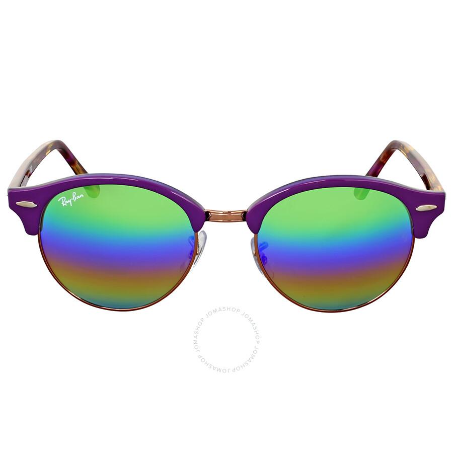 Ray Ban Clubround Mineral Green Rainbow Flash Sunglasses - Clubround ... 3b4c66fa1cf2