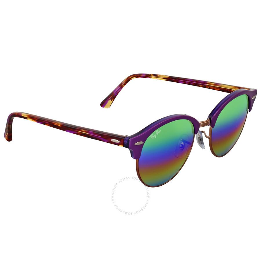 1ff98c63f2bf2 Ray Ban Clubround Mineral Green Rainbow Flash Sunglasses - Clubround ...
