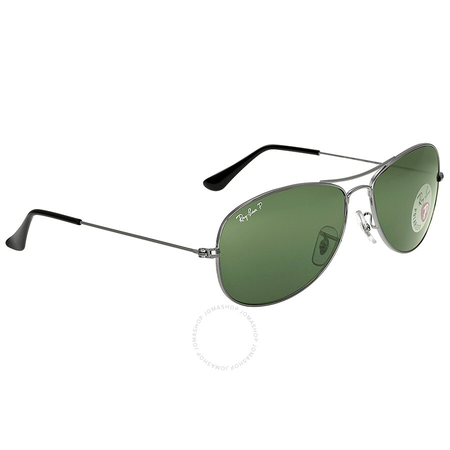 ff8ab306af ... Ray Ban Cockpit Gunmetal Green Polarized 59mm Sunglasses RB3362 004 58  59-14 ...