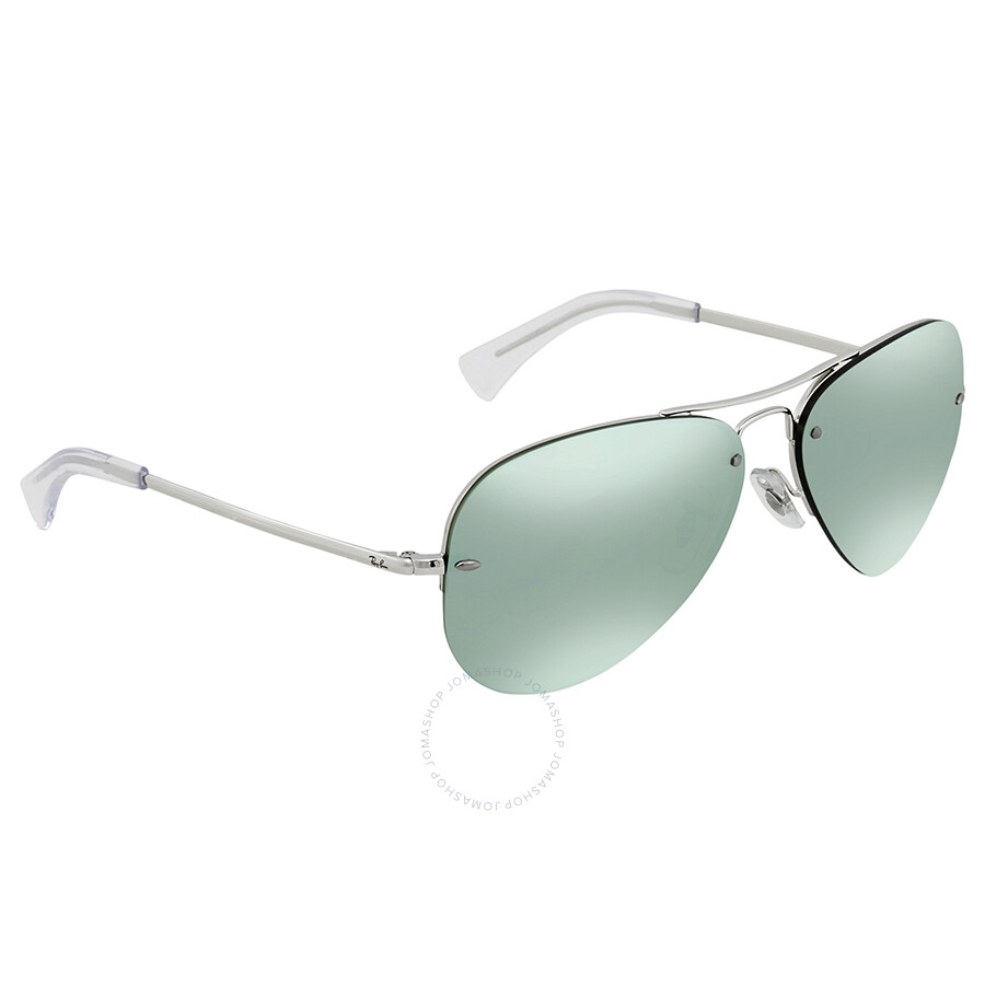 d66c56f6aa Ray Ban Dark Green Silver Mirror Aviator Sunglasses RB3449 904330 59 ...