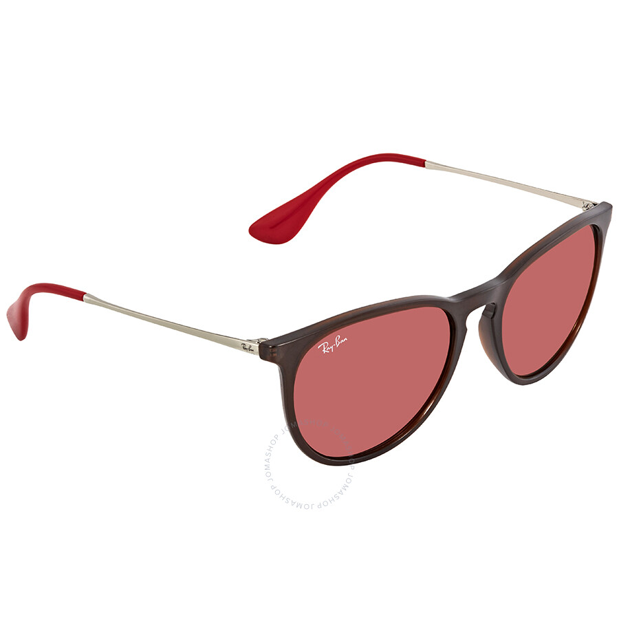 Ray Ban Erika Color Mix Dark Violet Mirror Red Round Unisex Sunglasses  RB4171 6339D0 54 ... 833fdc6a458e