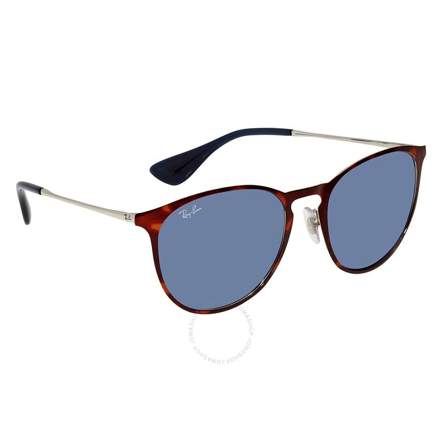 aa083cc6b Ray Ban Erika Silver Blue Classic Round Ladies Sunglasses RB3539 91328054  ...