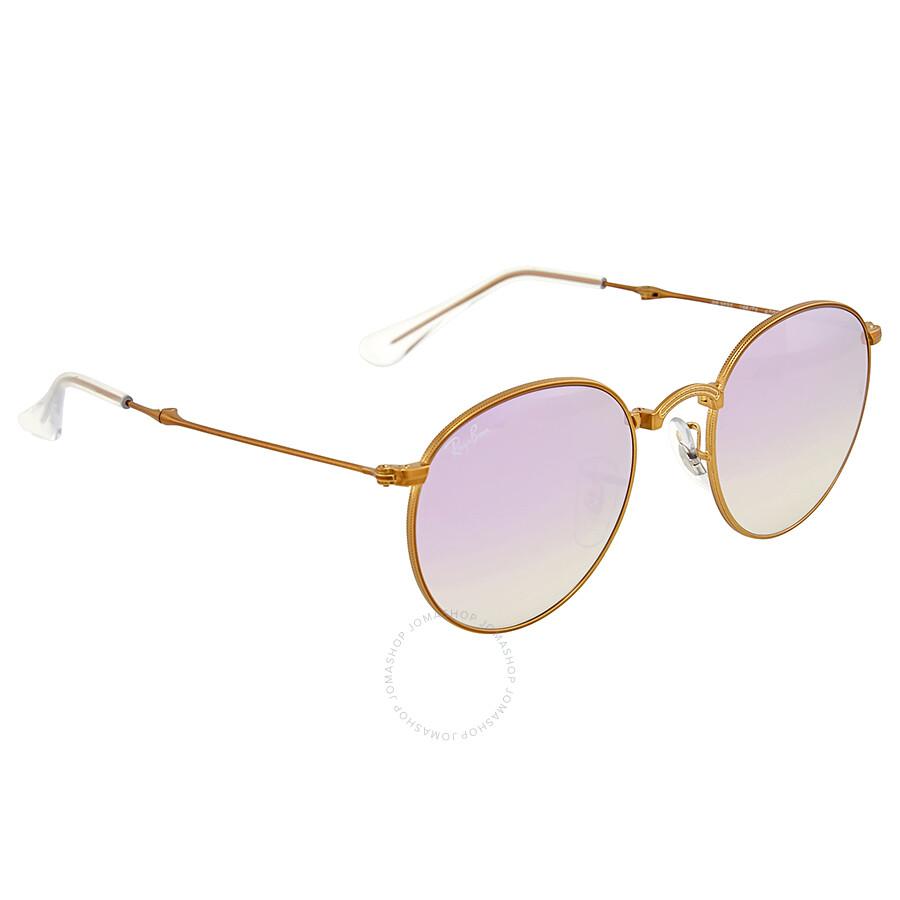 2c4bf9200c ... Ray Ban Folding Round Lilac Gradient Flash Sunglasses RB3532-198 7X-47  ...