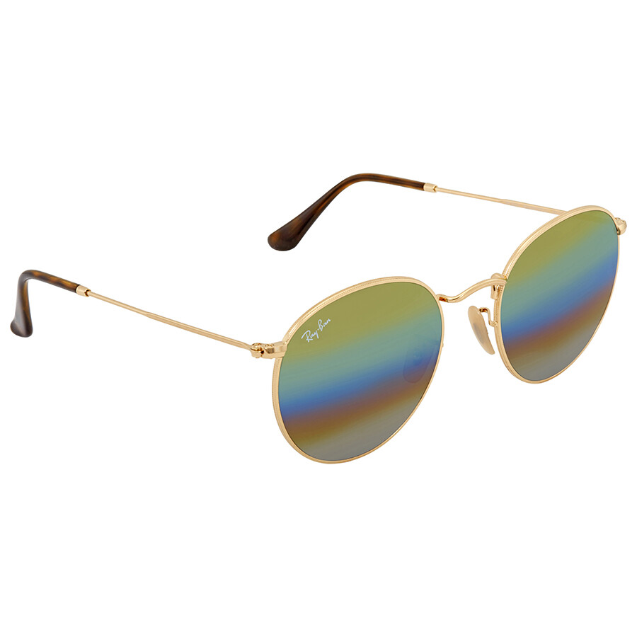 aa128c44f438 Ray Ban Gold Rainbow Flash Round Sunglasses RB3447 001 C4 53 - Round ...