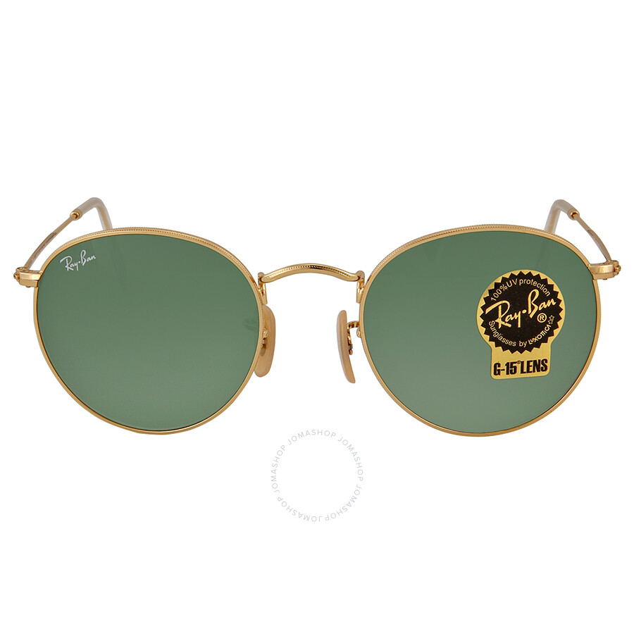 6946971837 Ray Ban Gold Frames Green Lens 50 mm Sunglasses