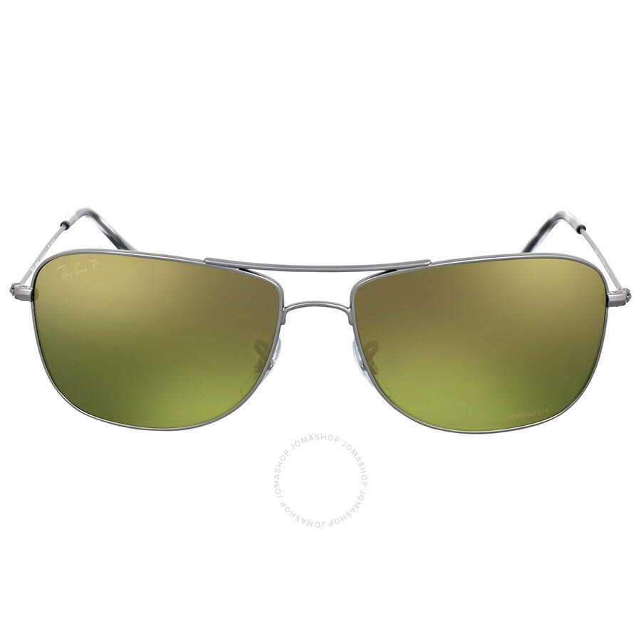 Ray ban gunmetal polarized green mirror chromance for Mirror sunglasses